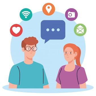 Soziales netzwerk, junges paar mit social-media-symbolen