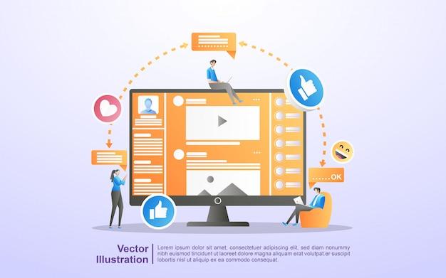 Soziales netzwerk-konzept. männer und frauen nutzen soziale medien. lernen sie social media kennen und chatten sie