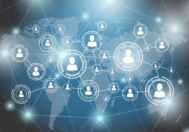 Soziales netzwerk. menschen auf weltkarte verbindung per linie.