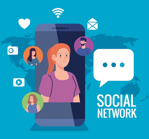 Soziales netzwerk, menschen mit smartphone- und social-media-symbolen, interaktiv, kommunikation und globales konzept