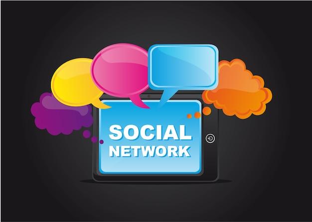 Soziales netzwerk mit gedankenblase