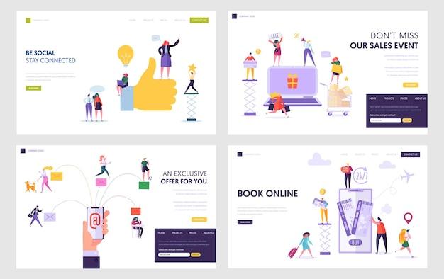 Soziales netzwerk, online-shopping, e-mail-service, tickets buchen in internet-website landing page templates set.