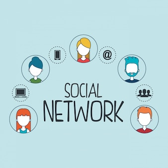 Soziales netzwerk stellen icons
