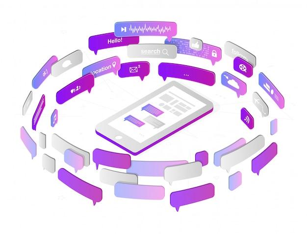 Soziales netzwerk und medien. smartphone und mobile anwendungen