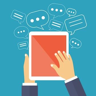 Soziales netzwerk und surfen im internet