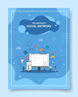 Soziales netzwerkkonzept für vorlage