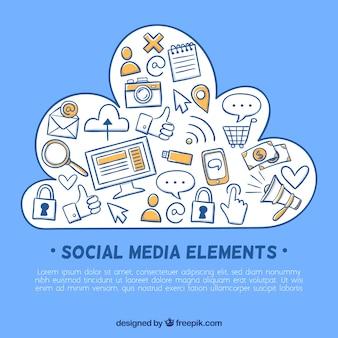 Sozialmediaelemente in einer wolke formen mit ikonen