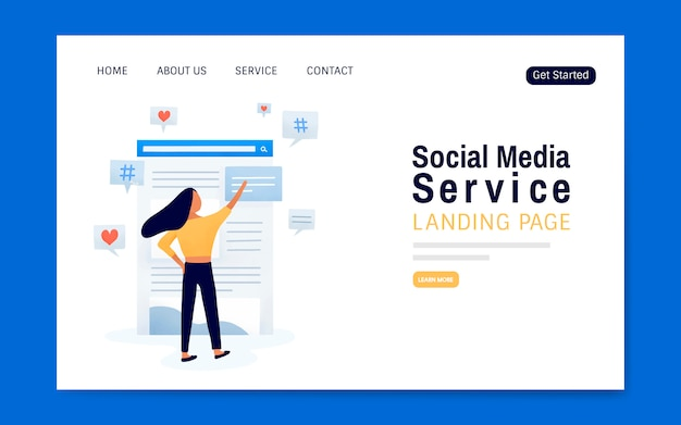 Sozialmediendienstlandungsseiten-planvektor
