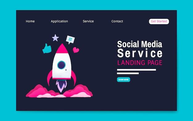 Sozialmediendienstlandungsseitenplanvektor
