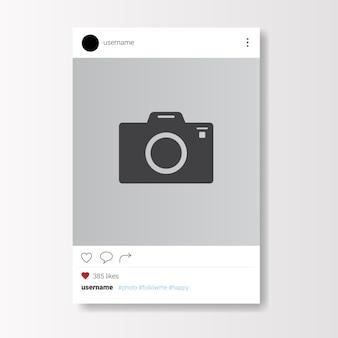 Sozialnetz-fotorahmen auf weißem hintergrund