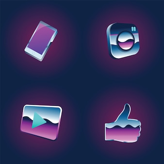 Sozialnetz-medien-online-gemeinschaftstechnologie-grafik-ikonen-illustration