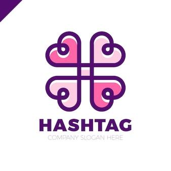 Sozialvektorsymbol mit vier herzen. herz kreuz logo. abstrakte linie hashtag logo symbol zeichen.