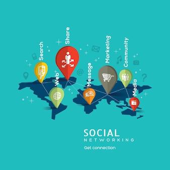 Sozialvernetzungs-Konzeptillustration