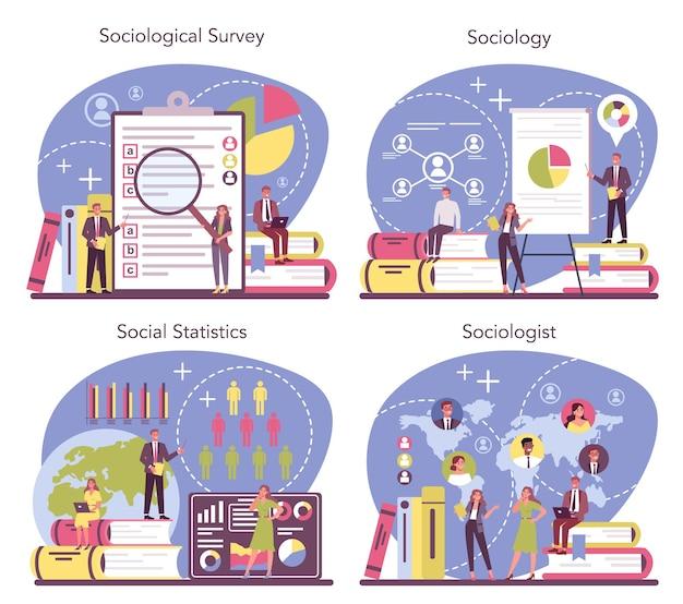 Soziologen-konzeptsatz. wissenschaftliche untersuchung der gesellschaft, des musters sozialer beziehungen, der sozialen interaktion und der kultur. statistik und soziologische erhebung. isolierte vektorillustration