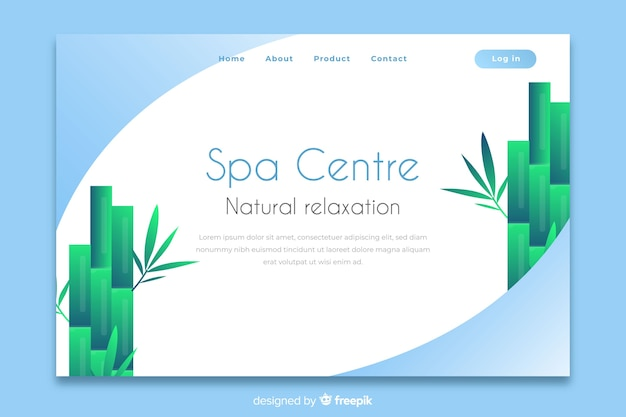 Spa landing page mit natürlichen elementen