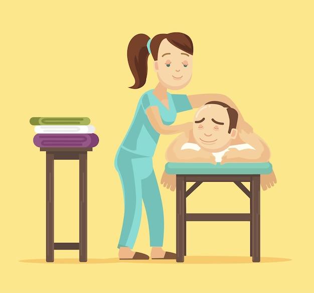 Spa-massage. flache illustration