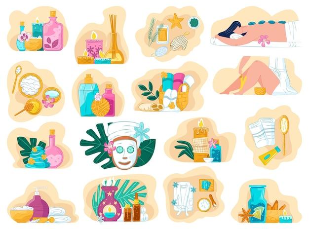 Spa pflegetherapie illustrationen gesetzt