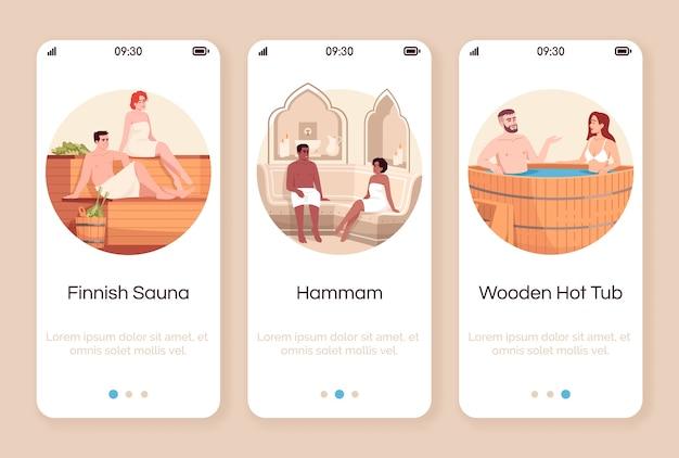 Spa resort für paare onboarding mobile app bildschirmvorlage. finnische sauna. marokkanisches hamam. whirlpool aus holz. walkthrough-website schritte mit zeichen. smartphone-cartoon ux, ui, gui