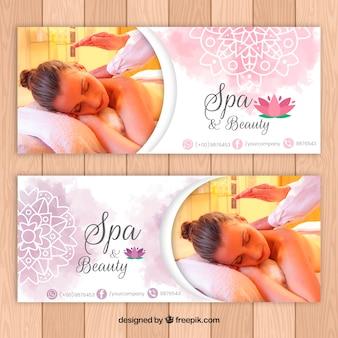 Spa-salon-banner mit einem foto