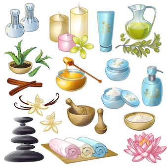 Spa salon dekorative icons set