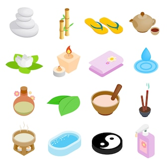 Spa-salon-ikonen eingestellt. isometrischer satz von spa-salonikonen für web lokalisiert auf weißem hintergrund