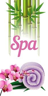 Spa-schriftzug, bambus, handtuch und orchidee. spa-salon werbeplakat