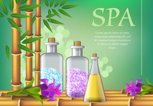Spa-schriftzug, flaschen und blumen. spa-salon werbeplakat