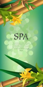 Spa schriftzug, gelbe blumen und bambus. spa-salon werbeplakat