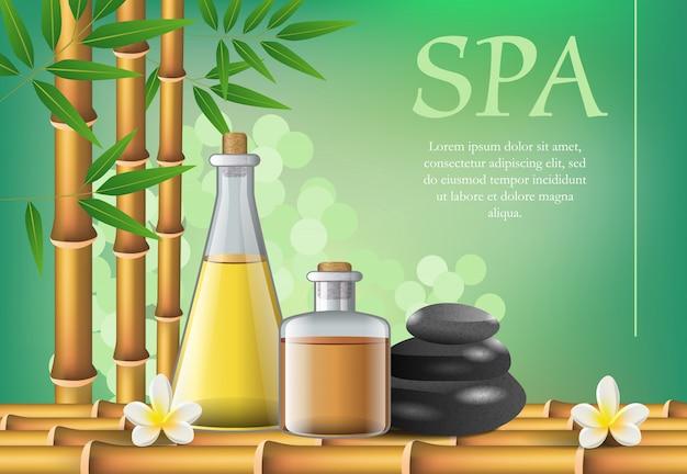 Spa-schriftzug und zubehör zusammensetzung. spa-salon werbeplakat