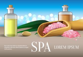 Spa-Schriftzug, zwei Flaschen mit Öl, Salz und Stein. Spa-Salon Werbeplakat