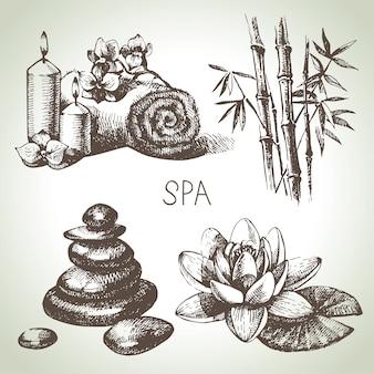 Spa skizze icon set. hand gezeichnete illustrationen der schönheitsweinlese