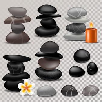 Spa stein vektor zen steintherapie für schönheit gesundheit und entspannung illustration der natürlichen steinigung behandlung isoliert