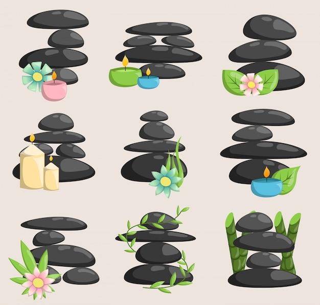 Spa steine isoliert vektor und entspannung isoliert. steine stapeln isolierte kieselkonzepttherapie, haufen spa steine schönheit ruhig entspannen.