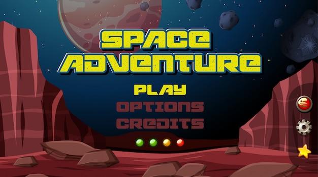 Space adventure spiel hintergrund