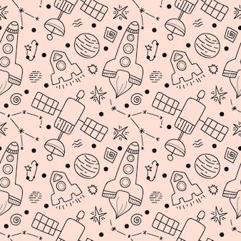 Space black line doodle nahtloses muster