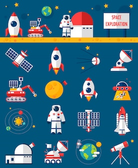 Space cosmos exploration flache icons set