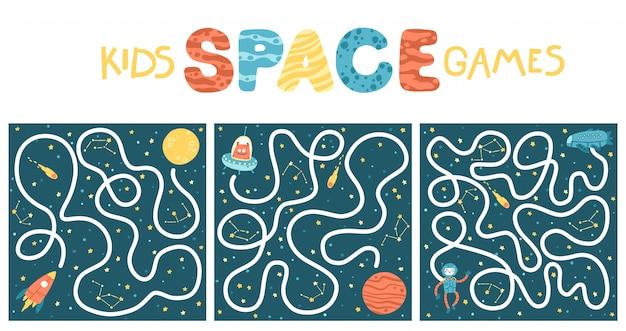 Space educational maze puzzle set spiele, geeignet für spiele, buchdruck, apps, bildung. lustige einfache karikaturillustration auf einem dunklen hintergrund