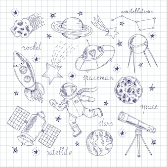 Space explorers doodles set