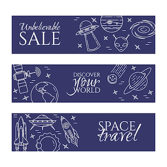 Space line banner mit kosmos thema piktogramme.