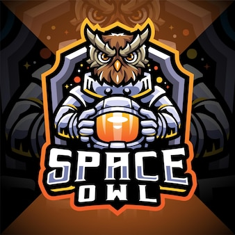 Space owl esport maskottchen logo design