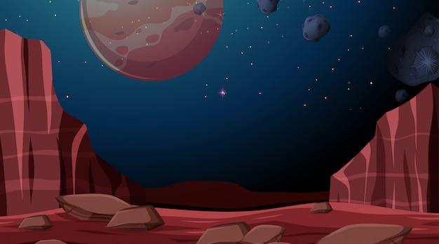 Space planet hintergrundszene