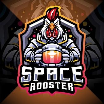 Space rooster esport maskottchen logo