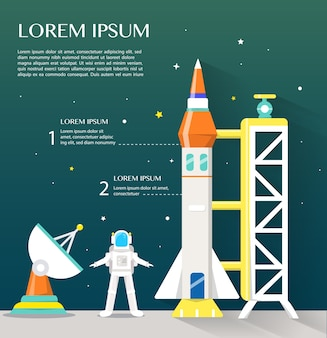 Space shuttle sattlelite und astronaut mit high-tech-infografiken flaches design.