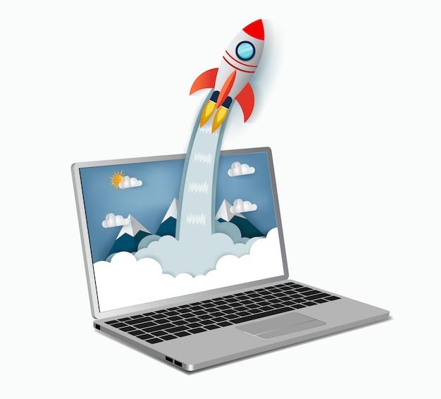 Space-shuttle-start außerhalb des notebook-bildschirms. konzept der unternehmensgründung. vektorgrafiken und illustrationspapier