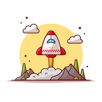 Space shuttle start mit wolken, berg und baum space cartoon icon illustration.