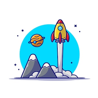 Space shuttle startet mit planet und mountain space cartoon icon illustration.