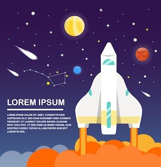 Space shuttle und sonnensystem infografiken flaches design. vektor-illustration
