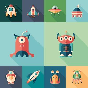 Space trip satz von flachen quadratischen icons mit langen schatten.