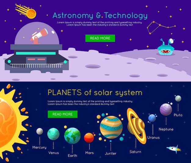 Space universe banner set