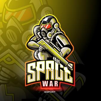 Space war maskottchen für gaming-logo.